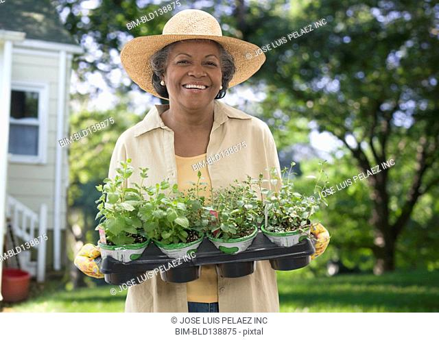 Older African American woman holding potted plants in backyard