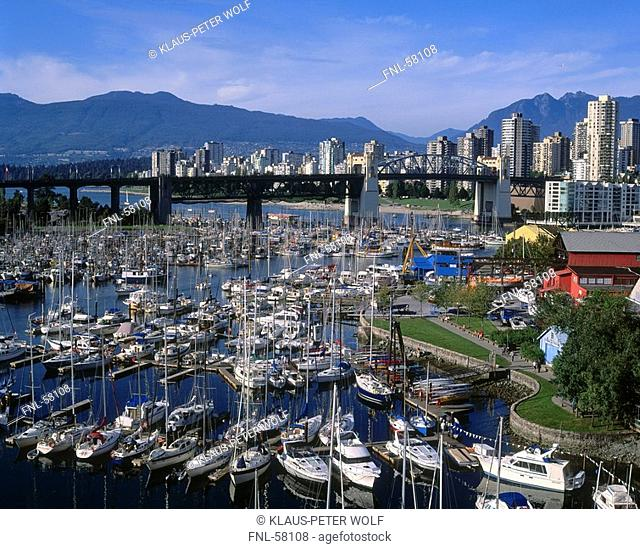 High angle view of boats in harbor, Granville Island, Vancouver, British Columbia, Canada