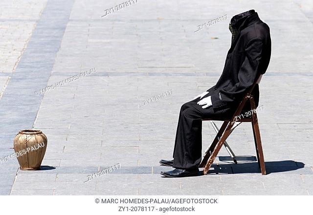 Headless Man Artist on a street in Madrid