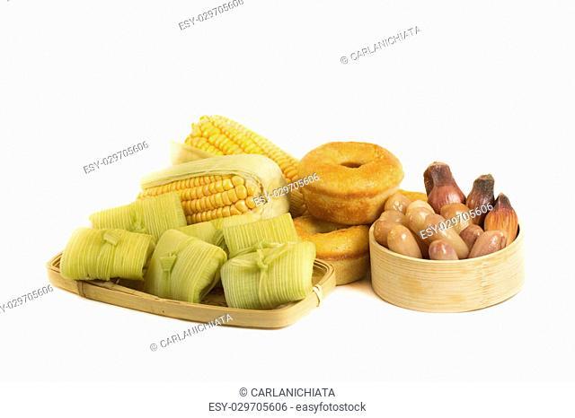 Brazilian typical countryf farm food on white background