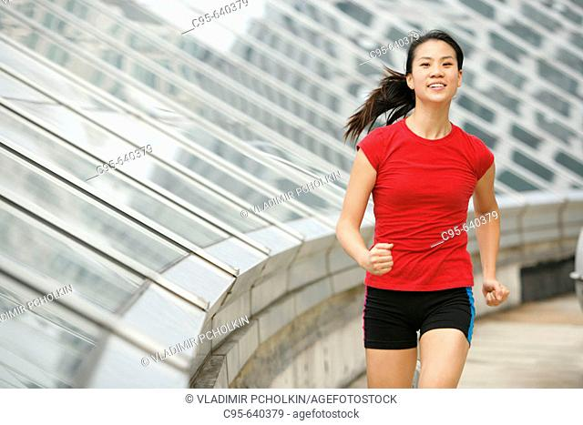 Arlington, Virginia, USA, woman jogging, 23 years old, Asian