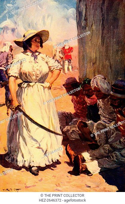 'Bridget Widdowson on Guard at Cawnpore', 1857 (c1912). Artist: Unknown