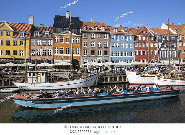 Boats and Restaurants in Nyhavn; Copenhagen; Denmark