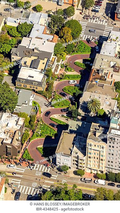 Aerial view, Lombard Street with hairpin turns, winding road, the streets of San Francisco, San Francisco, San Francisco Bay Area, California, USA