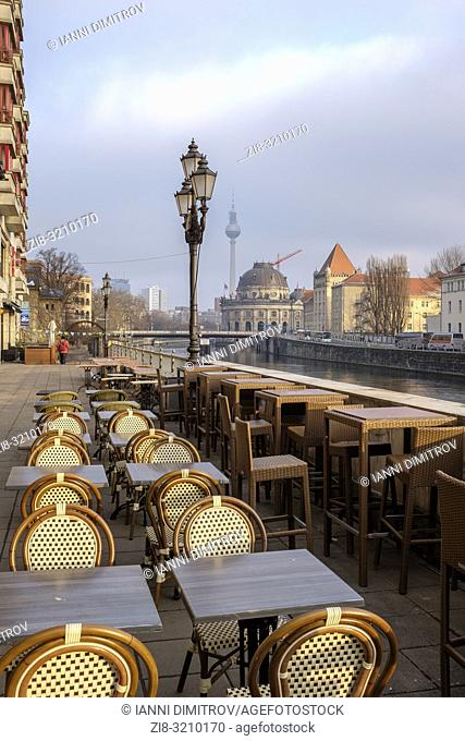 Germany ,Berlin, Friedrichstrasse- view east from Wedendammer Brucke over river Spree,Fernsehtrurm Tv Tower and Bode Museum