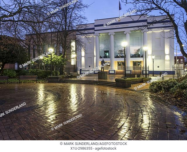 Recently Restored 1930s New Theatre Building in Kingston Square at Dusk Hull Yorkshire England