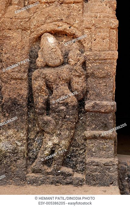 River goddess carved on wall in cave ; Gaur Lene ; Panhale Kazi caves number twenty-nine ; Konkan ; Maharashtra ; India
