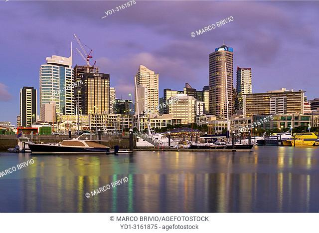Auckland New Zealand. The skyline from Viaduct Harbour at sunset