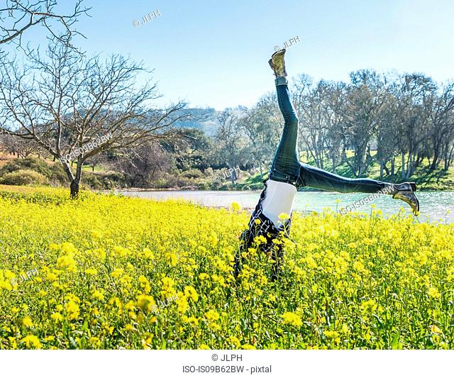 Mature woman doing cartwheel in field of wild flowers, Paso Robles, California, USA