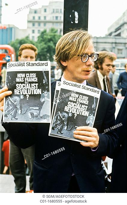 July 1968, Street vendor selling Socialist Standard newspaper at Speaker's corner, London, Great-Britain