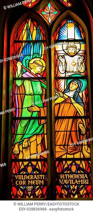 Saint Teresa Avila Angel Spear Christ Stained Glass De Krijtberg Church Amsterdam Holland Netherlands. Stained Glass in De Krijtberg, Catholic Church