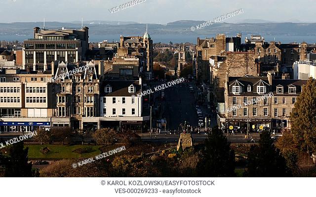 Aerial View of Princes Street in Edinburgh, Scotland, United Kingdom