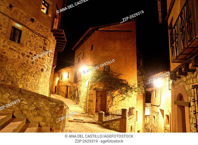 View of spanish town in evening. Albarracin in Teruel, one of the most beautiful villages in Spain