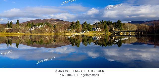 Scotland, Scottish Highlands, Cairngorms National Park  Mirror like reflections upon Loch Insh near Kincraig