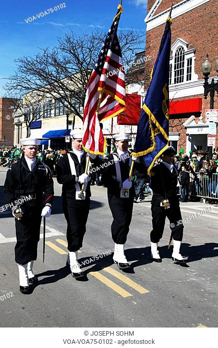 Navy Honor Guard, St. Patrick's Day Parade, 2014, South Boston, Massachusetts, USA