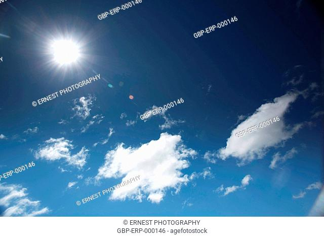 Abstract, Sun, Blue sky, Clouds