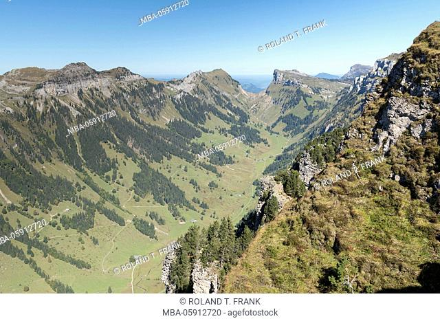 Europe, Switzerland, view from the Niederhorn to the north-east