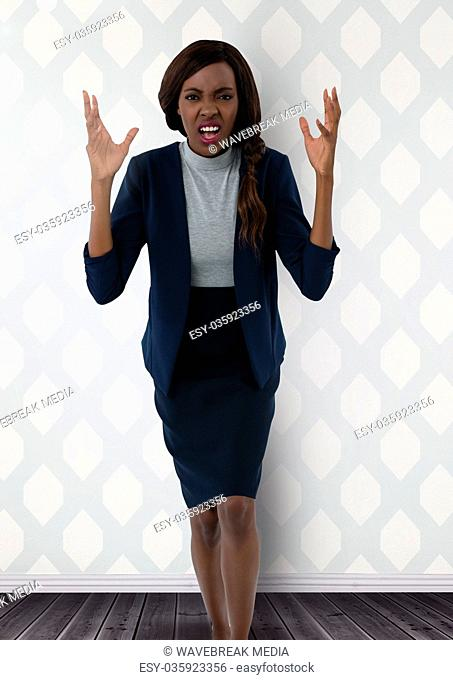 Businesswoman complaining angry in room