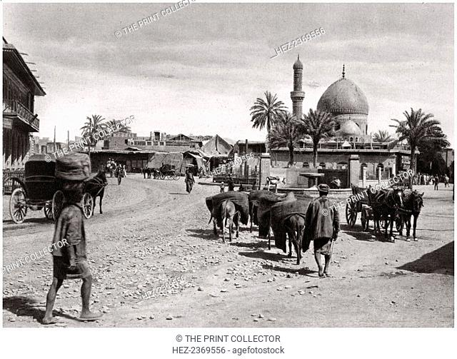 View of a street from the North Gate, Baghdad, Iraq, 1925. A print from Baghdad, Camera Studio Iraq, published by Hasso Bros, Rotophot AG, Berlin, 1925