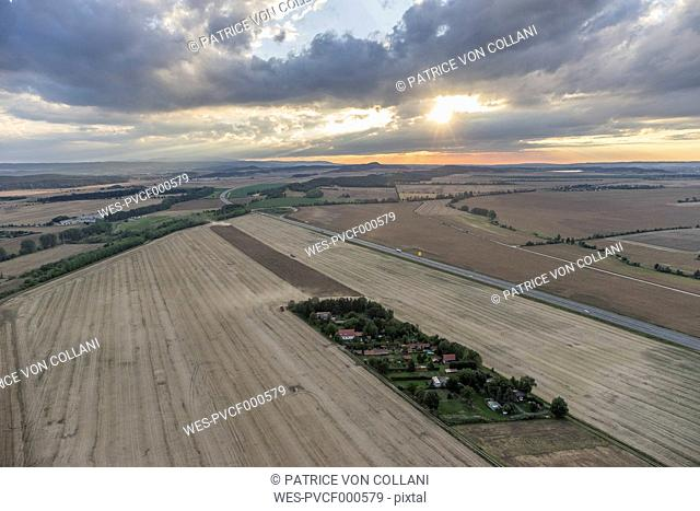 Germany, aerial view of fields near Quedlinburg in the evening