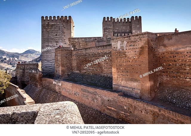 Exterior of the Alcazaba on the grounds of the Alhambra - Granada, Spain