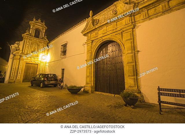 Baroque Church Of Charity by night, Carmona, Seville,Spain