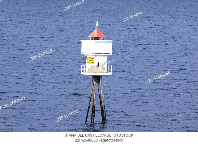 Lighthouse at Norwegian sea near Trondheim North of Norway