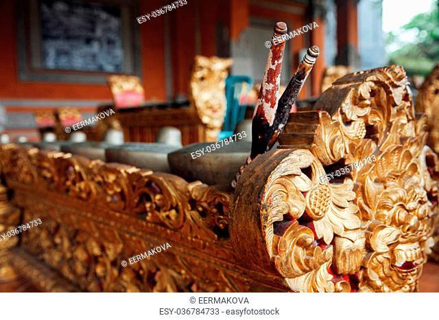 "Traditional balinese percussive music instruments instruments for """"Gamelan"""" ensemble music, Ubud, Bali, Indonesia"