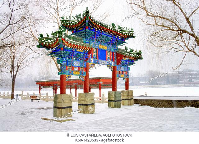 Beihai Park is an imperial garden to the northwest of the Forbidden City in Beijing  Built in the 10th century, it is amongst the largest of Chinese gardens