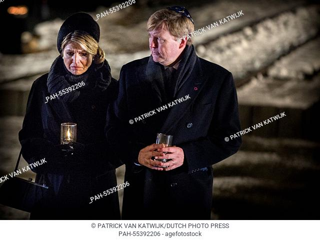 King Willem-Alexander and Queen Maxima of The Netherlands place an candle at the monument in Auschwitz Birkenau at the 70th anniversary of the libration of...