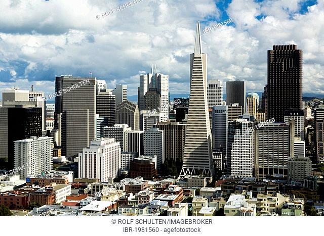 View from Coit Tower to the Financial Center with the Transamerica Pyramic, San Francisco, California, USA