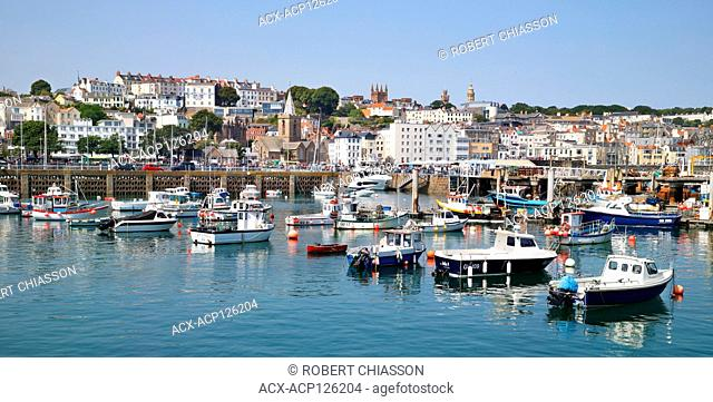 Harbour and town of St Peter Port, Guernsey, United Kingdom