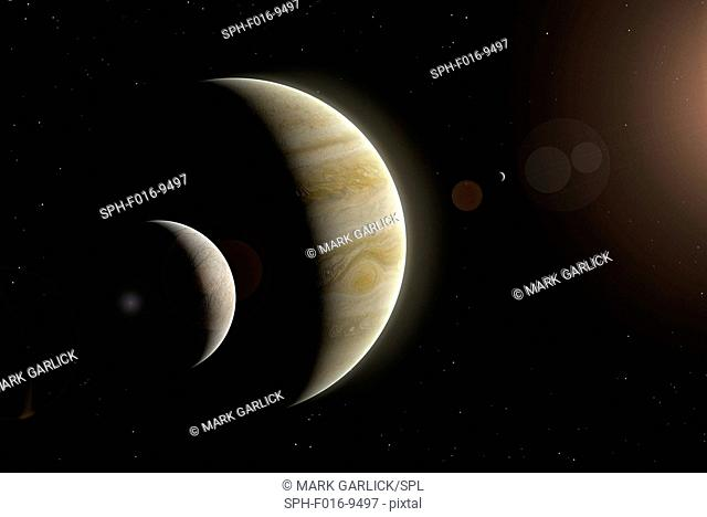 Illustration of Jupiter and two of its largest satellites, Europa (left) and Io (right). Europa is the smallest of the four Galilean moons of Jupiter