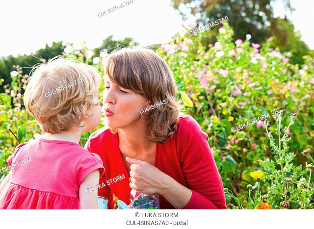 Mid adult mother and toddler daughter kissing in flower field