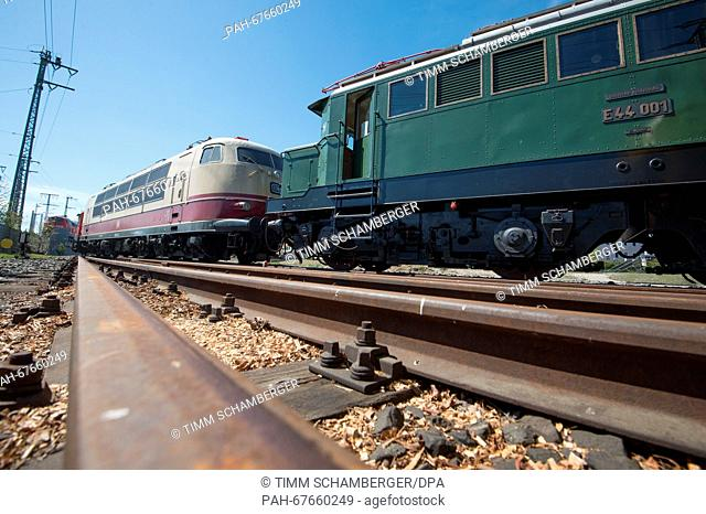 The historic electric locomotive from Deutsche Bahn (DB) series 103 (L) with serial number 103 224 can be seen with the historic electric locomotive from DB...