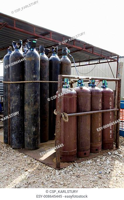The gas cylinders storage at the work site