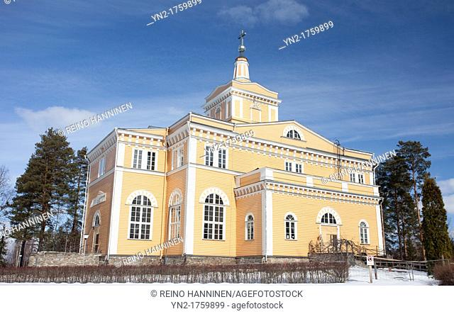 Large wooden Lutheran church at Rautalampi, built in the year 1844 and designed by the architect C  A Engel  Location Rautalampi Finland Scandinavia Europe