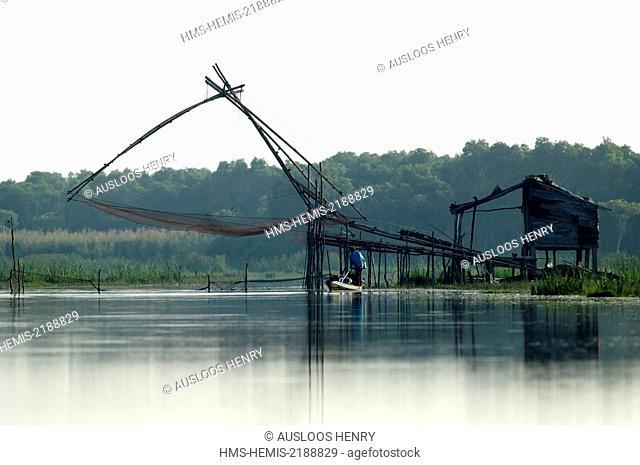 Thailand, Phatthalung, fishing net, Sunrise