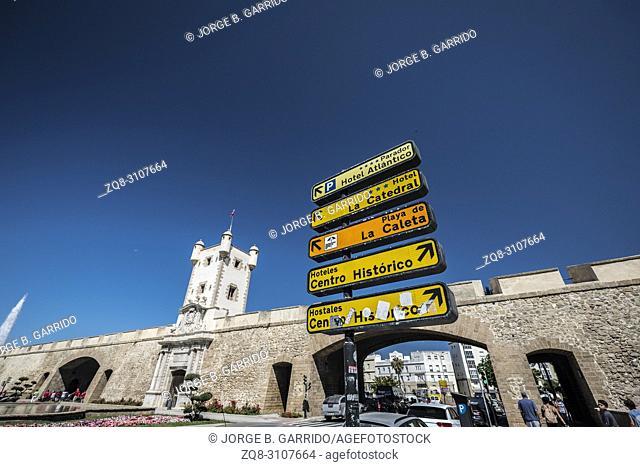 Street signals at the historic Cadiz old city, Spain