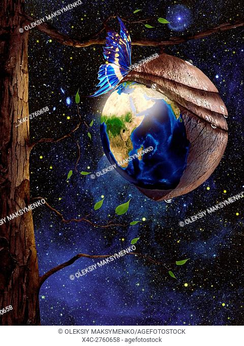 New planet Earth reborn from butterfly cocoon hanging from a tree in cosmic space, conceptual spiritual zen photo illustration