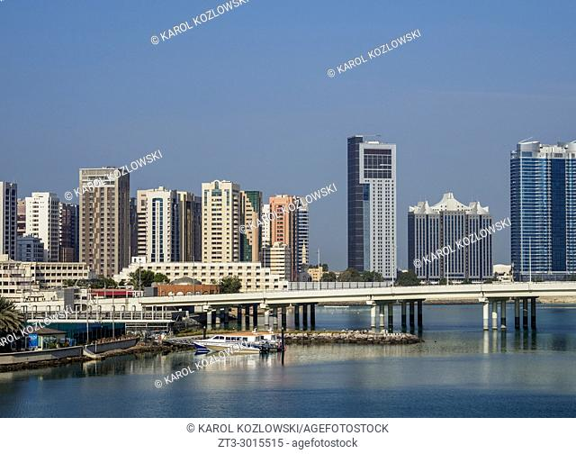 View towards the city center from Al Maryah Island, Abu Dhabi, United Arab Emirates