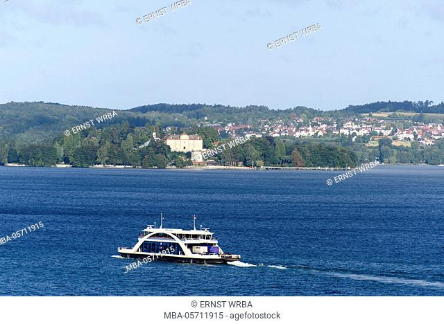 View at Lake of Constance, Überlinger lake with Meersburg, ferry with island Mainau in the background, Baden-Wurttemberg, Germany