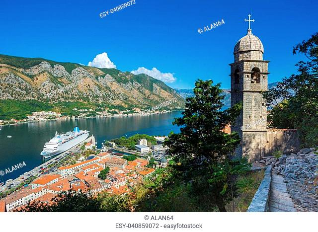 Montenegro. July 27, 2017. Top view of the Bay of Kotor and the old town. Europe