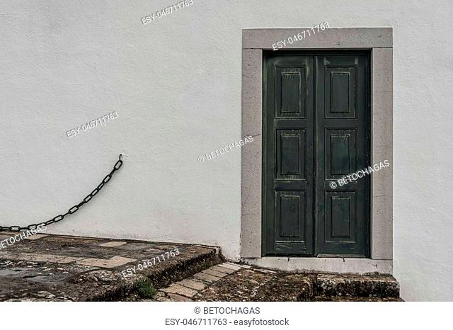 old door in the city of Setubal, Portugal
