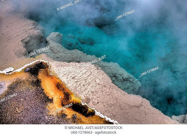 The hot spring 'black pool' is quite colorful at west thumb geyser basin, yellowstone national park, wyoming