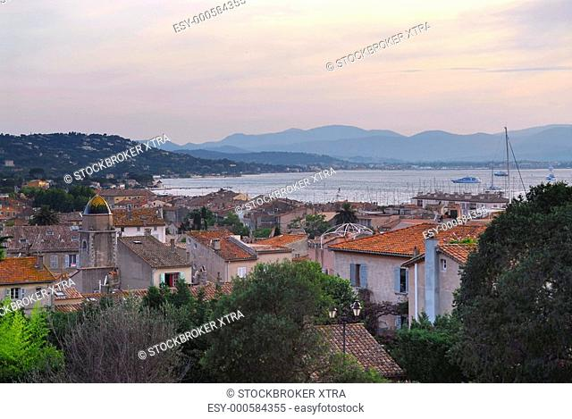 View on St. Tropez in French Riviera at sunset
