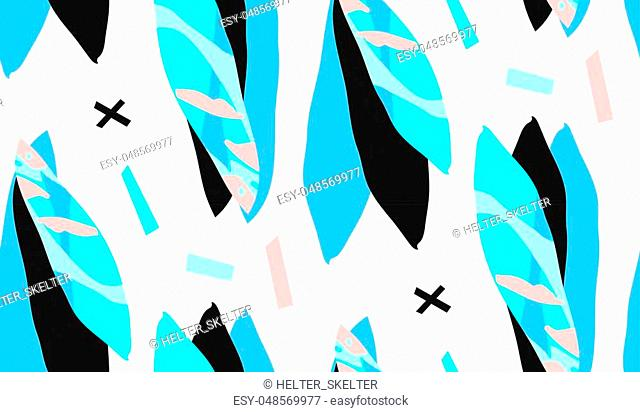 Hand made vector abstract textured trendy creative collage seamless pattern in tiffany blue colors isolated on white background with different textures and...