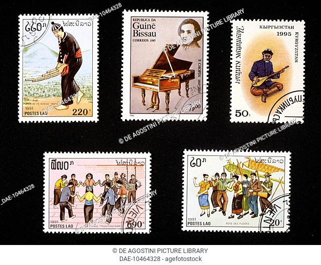 Top left and bottom, postage stamps depicting musical instruments and traditional dances, 1991, Laos; top centre, postage stamp honouring Chopin depicting a...