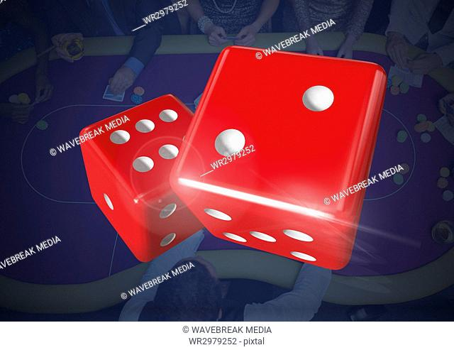 3D Pair of dice over blue casino table background