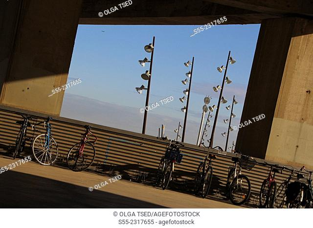 Bicycles and streetlamps, Forum Park, Barcelona, Catalonia, Spain